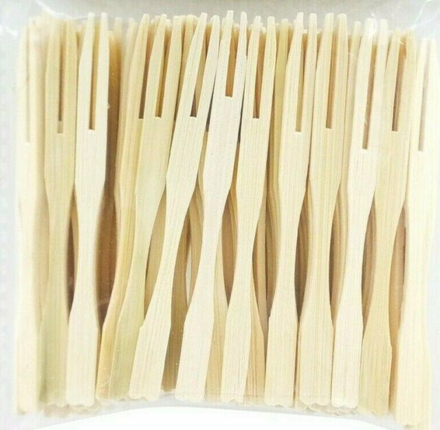 100x Bamboo Catering Forks Disposable Stick BBQ Grill Cocktail Finger Food