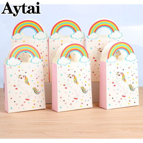 50x Unicorn Paper Party Bags Loot Treat Gift Bag Kid Birthday Handles Candy Box