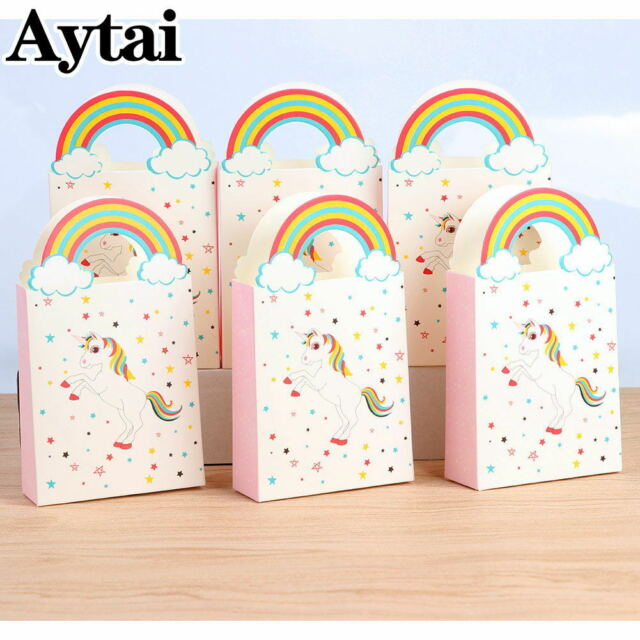 50 Pcs Unicorn Gift Bags Party Favor Plastic Candy Bag Loot For Kids Birthday