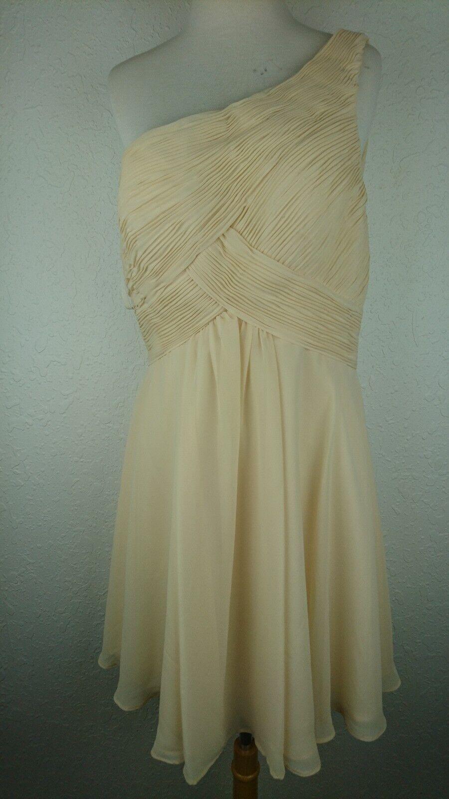Mori Lee Madeline Gardner Sz 12  Ivory Dress Formal Evening Gown One Shoulder G2