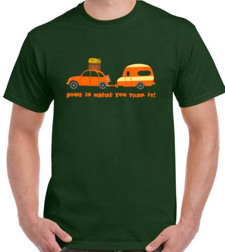 Mens Funny T-shirt  Home Is Where You Park It  Camping Caravan Caravaning Beetle