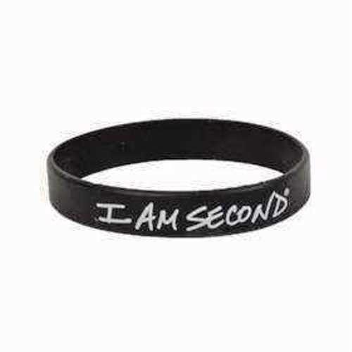 I Am Second Wristband Black White Rubber Silicone Bracelet Live For Usa