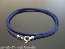 """2 mm, Azul Marino De Seda Estilo 16 """" (41cm) Cable De Collar Con Plata Esterlina Broche"""