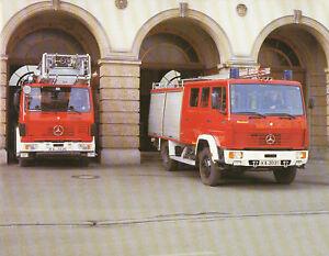 Mercedes-1120-Feuerwehr-Metz-Mini-Poster-28-x-22-3-cm-Lkw-Lastwagen-Deutschland