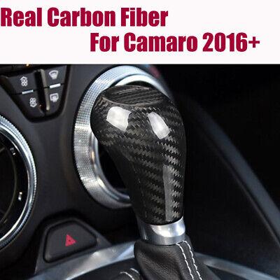 Carbon Fiber Gear Shift Knob Panel Cover Trim fit For Chevrolet Camaro 2016