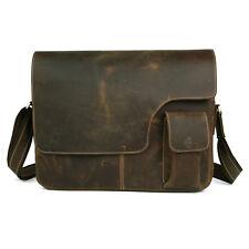 """Men's Genuine Leather Large Retro Messenger Bags Shoulder 14"""" Macbook Laptop Bag"""