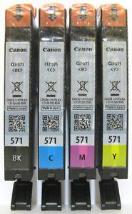 Canon-Genuine-CLI-571Bk-CLI-571C-CLI-571M-CLI-571Y-Set-New-Sealed