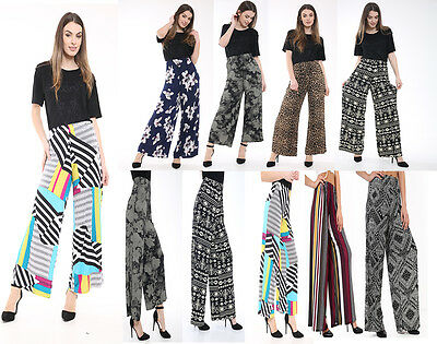 WOMEN/'S LADIES CASUAL PAISLEY PRINT PALAZZO FLARED WIDE LEG TROUSERS SIZE 8-26