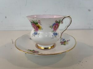 Vintage Royal Stafford English Porcelain Cup & Saucer with Pink Floral Decoratio