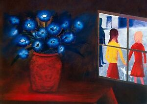 CHARLES-BLACKMAN-034-Blue-Bouquet-and-Window-034-Signed-Limited-Edition-Print-66-x-91