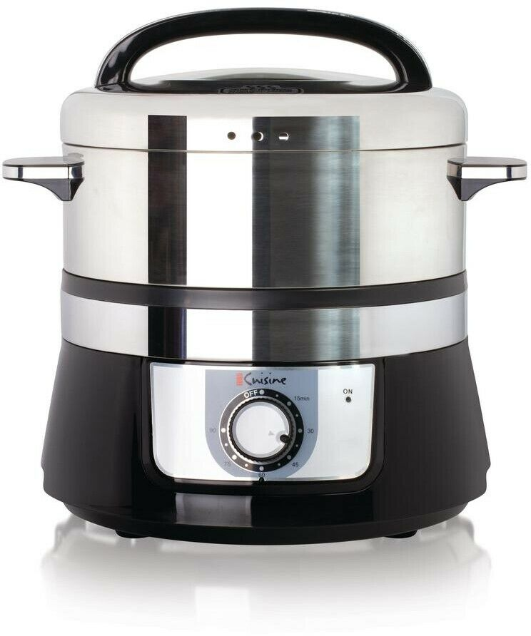 Euro Cuisine Electric Stainless Steel Food Steamer No Oil Healthy Cooking Timer