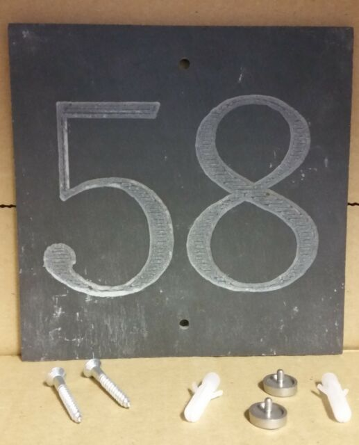 /'58/'  Slate House Number Door Plaque Sign With Capped Screws