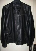 Men's Black Wilson's Leather Motorcycle Jacket Coat; Rivet Bk5au413 Size Xxl