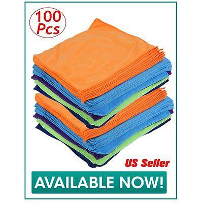 100-Pack Microfiber Cleaning Cloth Towel Rag Car Polishing Detailing No Scratch