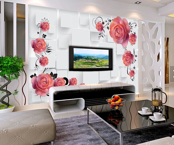3D Raumgestaltung , Blumen 2 Fototapeten Wandbild Fototapete BildTapete Familie