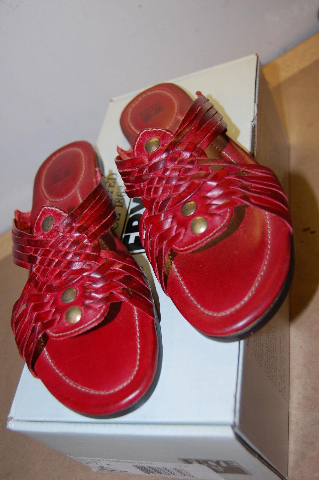 Nuevo En Caja Frye Jacey Huarache Diapositiva Sandalias De Cuero 6.5 Medio Rojo Calidad Superior Para Mujer