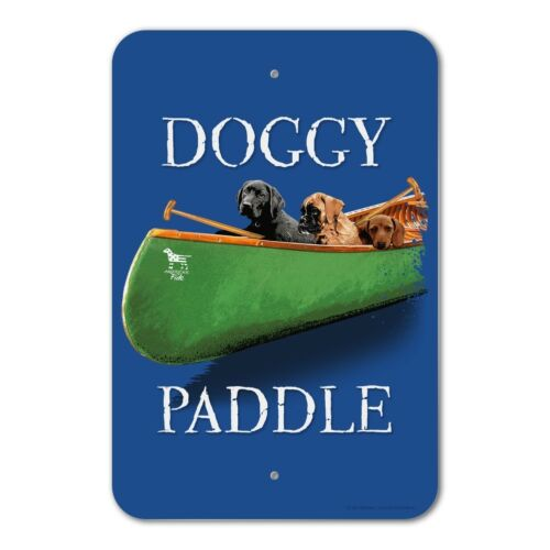 Doggy Dog Paddle Canoe Dogs Home Business Office Sign