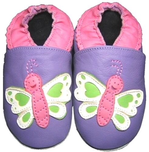 soft sole baby leather shoes butterfly purple 12-18 m free shipping minishoezoo
