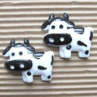 "Hand Painted - 10 pcs x (1 1/8"") Resin Cow/Cattle Flatback Embellishments SB555"