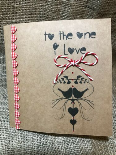 "rustic /"" to the one i love/"" card handmade//men-women.Valentine/'s Day//anniversary"