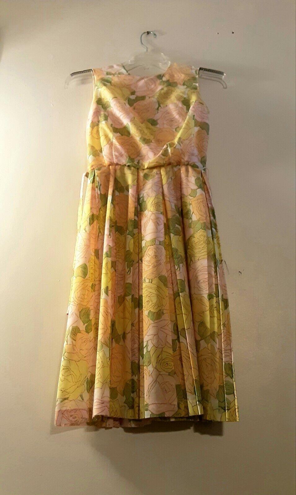 1950's Pastel Rose Print Day Dress (XS) - image 6