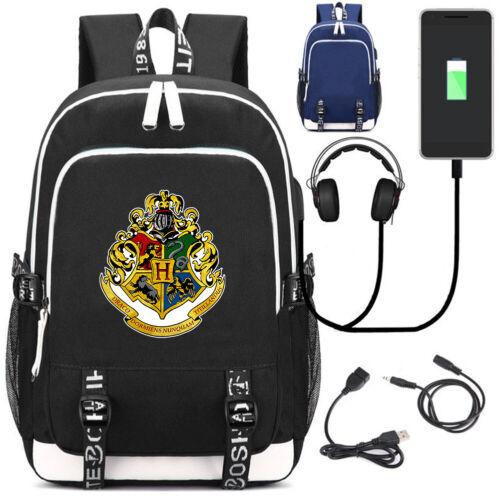 Harry Potter Slytherin Rucksack USB charging Port Boys school bag Laptop Bags