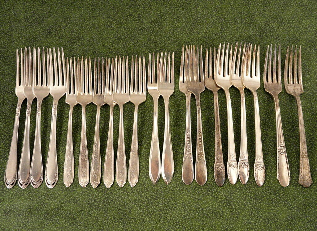 Craft 20 deco floral dinner forks Lot G vintage couverts argenterie argenterie