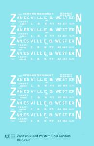 K4-HO-Decals-Zanesville-and-Western-Coal-Gondola-White