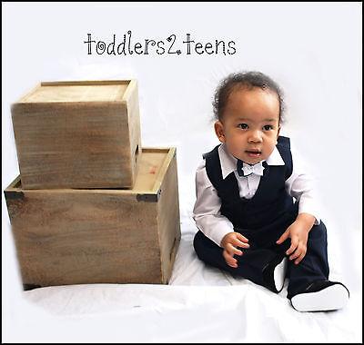 Baby Boy 4 Pezzi Navy Outfit Smart Suit Fiocco Matrimonio Battesimo Partito Formale- Rinfrescante E Benefico Per Gli Occhi