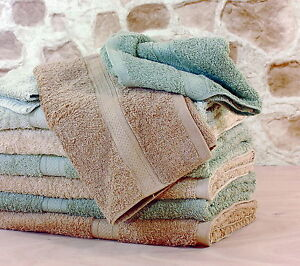 2 x Organic Cotton Bath Towels Gift Set Chemical Free Eco-Friendly Brown/Green