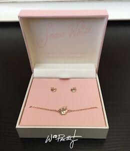 2020 Disney Snow White Jewelry Set for Girls Rose Gold Bolo Bracelet & Earrings