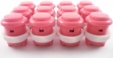 12 x 28mm Round Convex Curved Arcade Push Buttons & Microswitches (Pink) - MAME