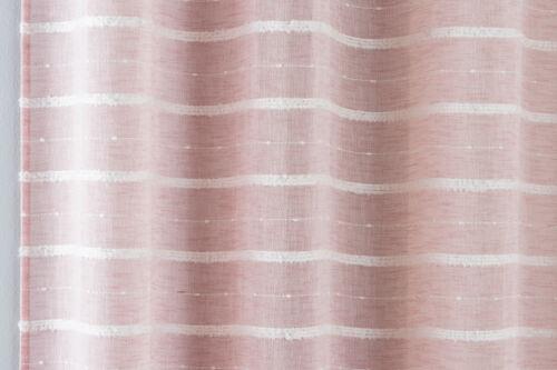 Blush Rose Voile Rideau à Rayures Texturé Net Panneau à œillets et un seul groupe