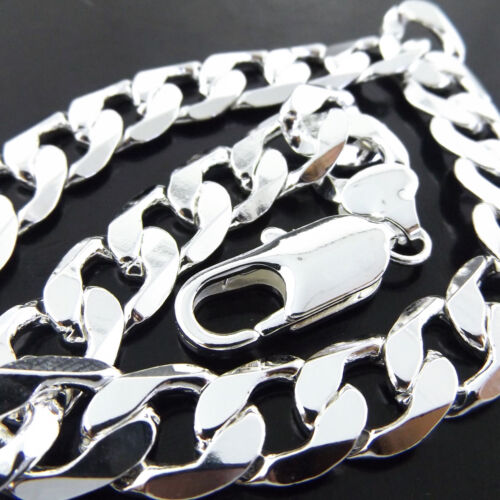 A+A845 GENUINE REAL 925 STERLING SILVER S//F SOLID CUBAN CURB NECKLACE CHAIN