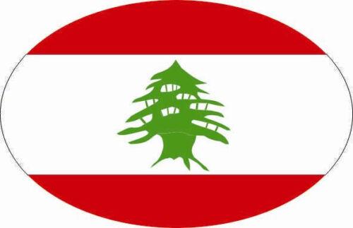 Autocollant Liban Ovale 10 x 6,5 cm des autocollants autocollant