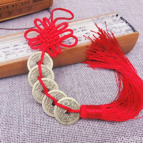 Chinese Feng Shui 5 Coins Pendant Car Hanging Knot Tassel Hanger Key Ring String