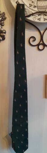 Hunter Green Polo Ralph Lauren Italy Neck Tie 100%