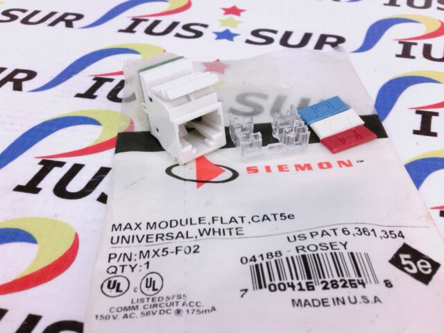 NSOP Siemon MX5-F02 Max Outlet, Flat, Category 5E, UTP RJ45 Copper White T568A/B