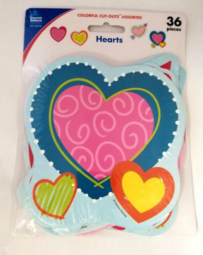CD-120172 Carson Dellosa Colorful Assorted Hearts Cut-Outs 36 Pieces