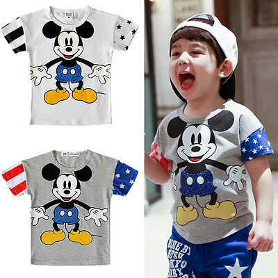 2015 Cartoon Mickey Mouse Kids Boys Girls Short Sleeve Tops T-Shirt Clothes 2-7Y