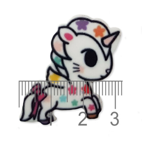 5pcs Cute Rainbow Unicorn Acrylique Flatback Cabochons Embellissement Decoden Artisanat