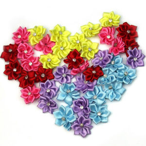 40pcs-U-pick-satin-ribbon-flowers-bows-with-Appliques-Sewing-Craft-DIY-Wedding