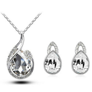 Silver-Leaf-White-Bridal-Brides-Jewellery-Set-Stud-Earrings-Necklace-Sets-S514