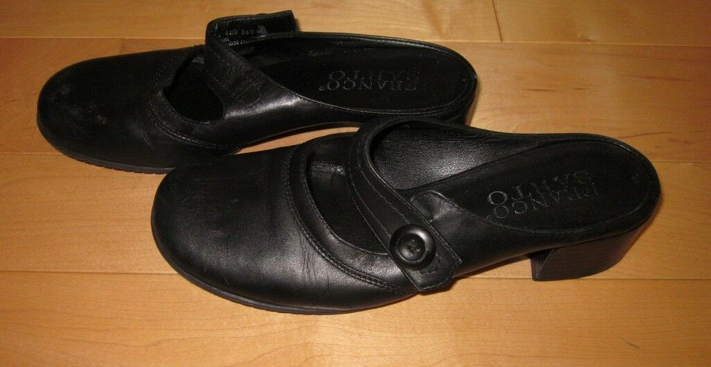Franco Sarto Bk Leather Mary Jane Mules 6.5 Cute