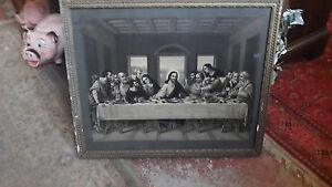 Antique Lithograph The Lord's Supper by R  Tesar - Original