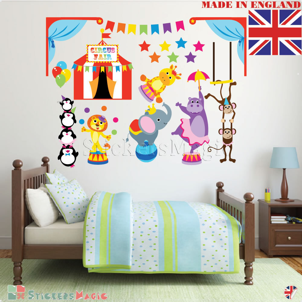 Details about Circus Wall Stickers for Baby Room Girl Boys Kids Children  Nursery Bedroom Art