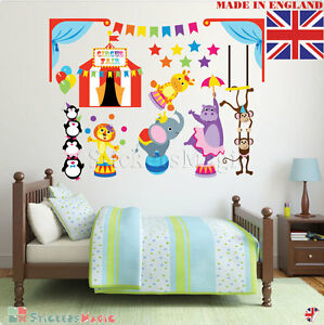 Circus Wall Stickers for Baby Room Girl Boys Kids Children Nursery ...