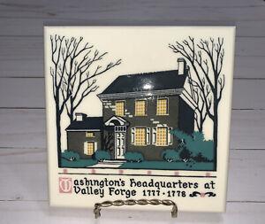 Vintage Ceramic Tile Trivet Washington's Valley Forge American Olean Tile Co