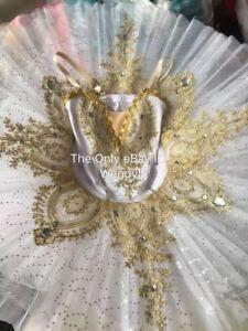 Adult Ballet Pancake Platter Tutu Skirt Dance Dress White Golden Ballet Costume