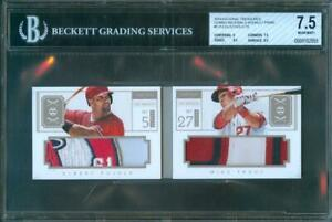 2014-National-Treasures-TROUT-PUJOLS-Jersey-Patch-Relic-Booklet-6-10-BGS-7-5